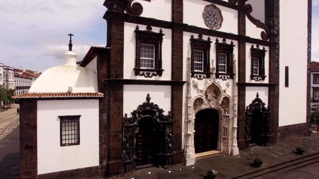 Saint-Sabastian-church-with-clock-tower-in-Ponta-Delgada-on-Sao-Miguel-Azores-Portugal-
