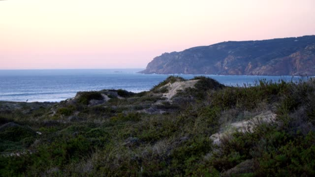 Praia-do-Guincho-beach-sand-dunes-and-the-coastline-at-sunset