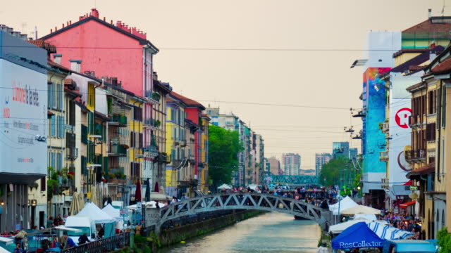Italy-day-light-milan-city-famous-canal-panorama-4k-timelapse