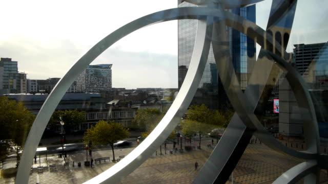 Centenary-Square,-Birmingham,-timelapse-panorama.
