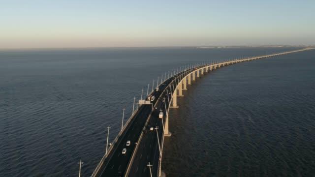 Aerial-Drone-video-of-Ponte-Vasco-da-Gama-Bridge-with-cars-passing-by
