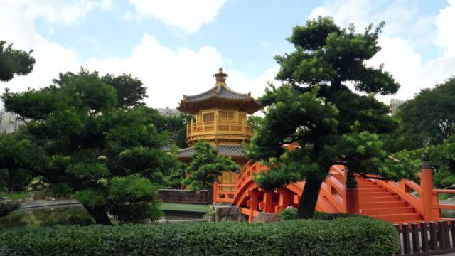 gimbal-shot-walking-towards-the-bridge-and-pavilion-in-nan-lian-gardens