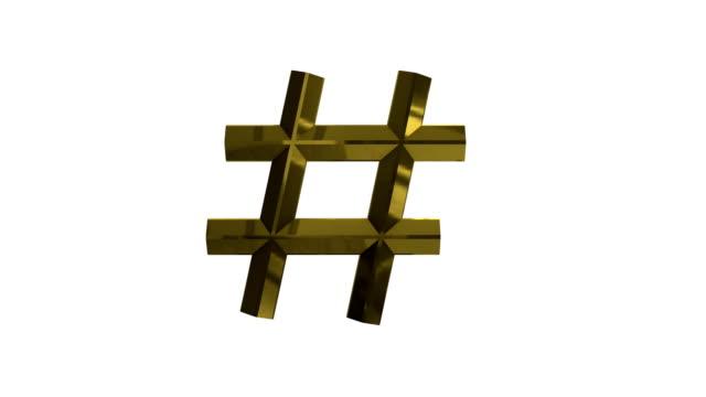 Metallic-Golden-Hashtag-3D-Rendered-Animation-4k-Video-
