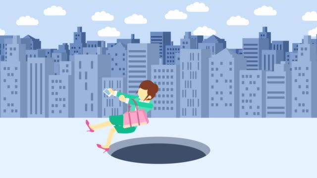 Mujer-de-negocios-caen-en-el-agujero-Fondo-de-los-edificios-Concepto-de-riesgo-Ilustración-de-estilo-plano-del-lazo-