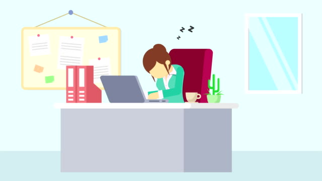 Business-man-is-working-Tired-and-sleep-Business-emotion-concept-Loop-illustration-in-flat-style-