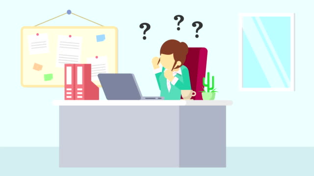 Business-man-is-working-Thinking-of-troubled-Business-emotion-concept-Loop-illustration-in-flat-style-