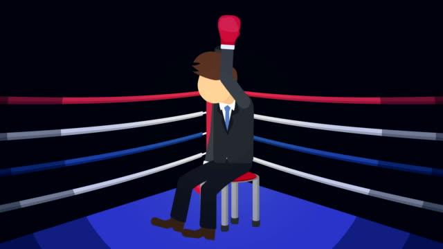 Batalla-de-hombre-de-negocios-ganan-en-guantes-de-boxeo-Concepto-de-competencia-empresarial-Ilustración-de-estilo-plano-del-lazo-