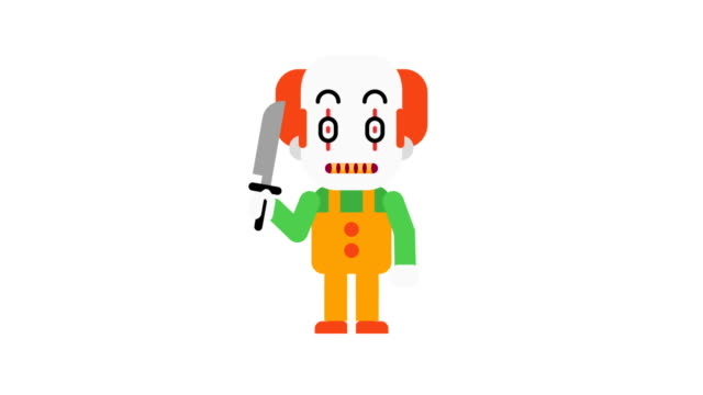 Clown-angry-stomping-and-clenching-teeth-Halloween-character-Alpha-channel-