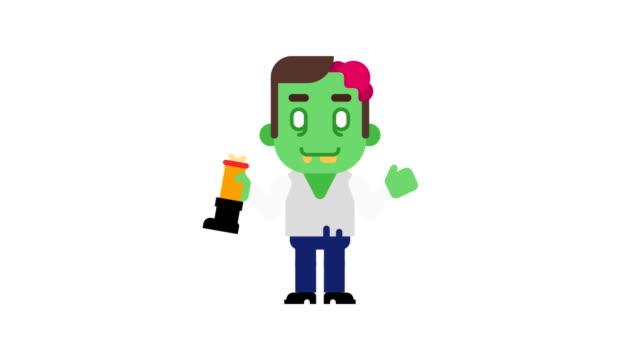 Zombie-dancing-and-waves-hand-Halloween-character-Alpha-channel-