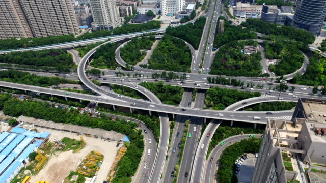 T/L-AERIAL-Shot-of-traffic-moving-on-overpasses/Xi-an-China-
