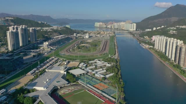 Aerial-view-of-Shatin-district-in-Hong-Kong-in-day-time-