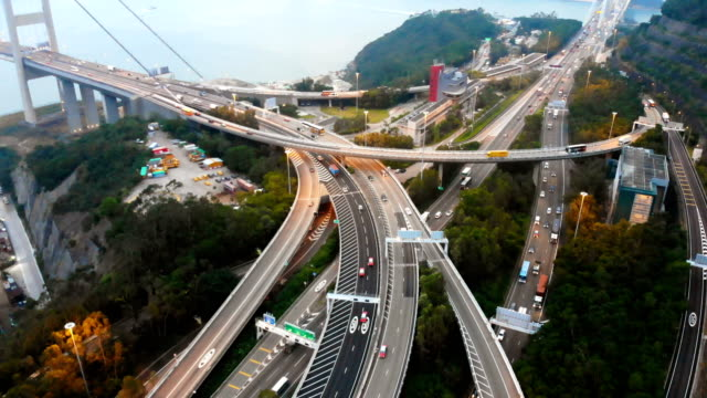 Aerial-view-traffic-on-highway-