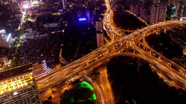 TL-WS-Rush-hour-traffic-on-multiple-highways-and-flyovers-at-night-/-Shanghai-China