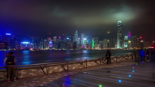 Nachtlicht-zu-Fuß-Bucht-Panorama-4-k-Zeitraffer-aus-Hong-Kong-china