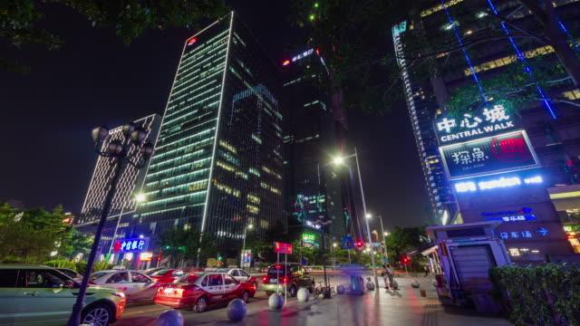 China-Nacht-Licht-Shenzhen-City-Center-Verkehr-Straße-4-k-Zeitraffer
