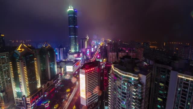 China-noche-luz-techo-shenzhen-ciudad-tráfico-urbano-Calle-panorama-4k-lapso-de-tiempo