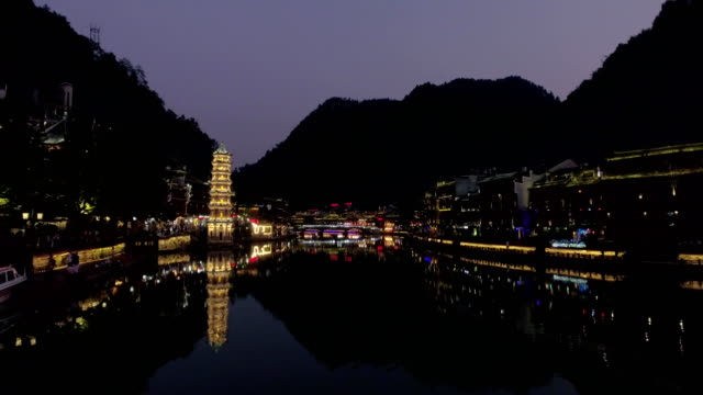 Night-view-of-historic-center-of-Fenghuang-city-China