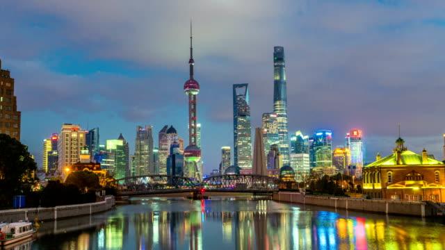 Time-lapse-of-Shanghai-bund-Garden-bridge-at-skyline
