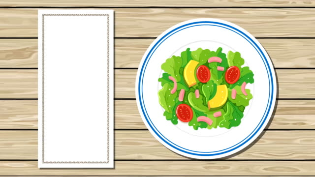 Top-View-on-Plates-with-Different-Food-and-Menu-in-Transitions-Cartoon-Style
