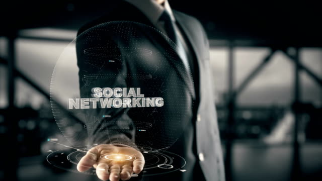 Social-Networking-with-hologram-businessman-concept