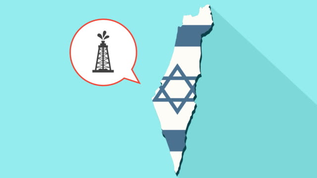 Animation-of-a-long-shadow-Israel-map-with-its-flag-and-a-comic-balloon-with-a-oil-tower