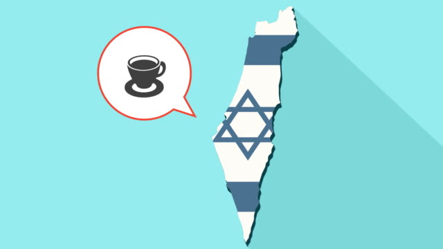 Animation-of-a-long-shadow-Israel-map-with-its-flag-and-a-comic-balloon-with-cup-of-coffee