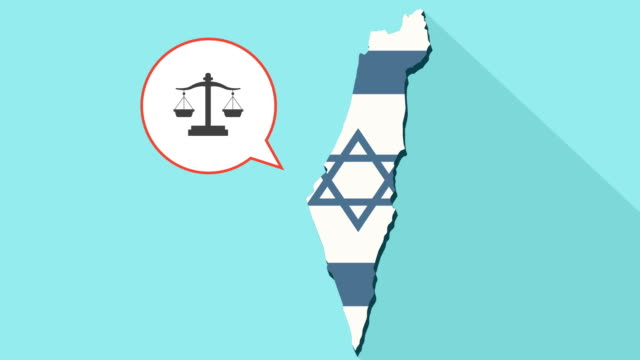 Animation-of-a-long-shadow-Israel-map-with-its-flag-and-a-comic-balloon-with-a-justice-weight-scale-sign