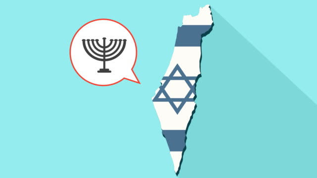 Animation-of-a-long-shadow-Israel-map-with-its-flag-and-a-comic-balloon-with-a-Menorah-icon