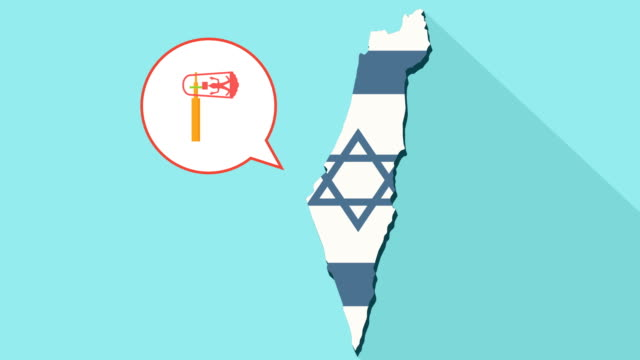 Animation-of-a-long-shadow-Israel-map-with-its-flag-and-a-comic-balloon-with-a-purim-gragger