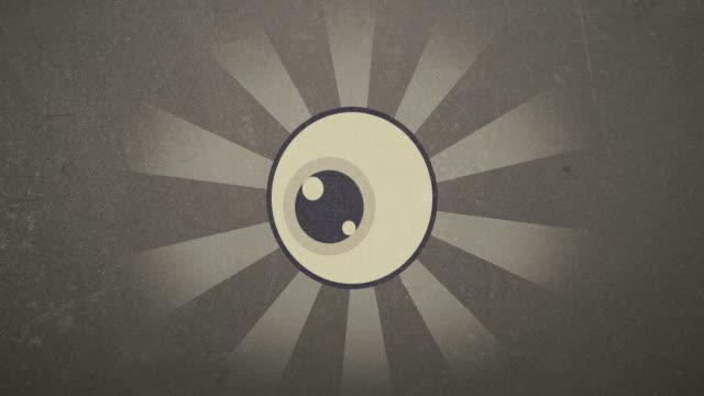 el-ojo-Retro-4-k-prestados-Video-de-animación-en-la-mirada-de-Vinatge
