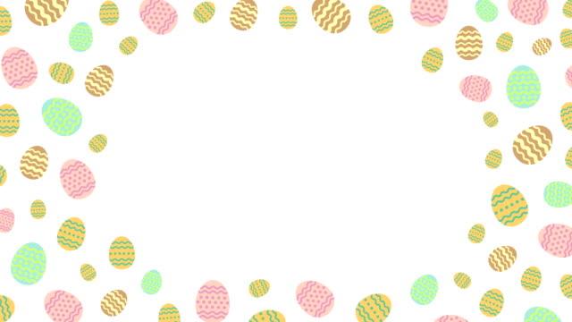Huevos-de-Pascua-patrón-pop-up-con-la-animación-de-espacio-de-copia-centro-4K-en-fondo-blanco