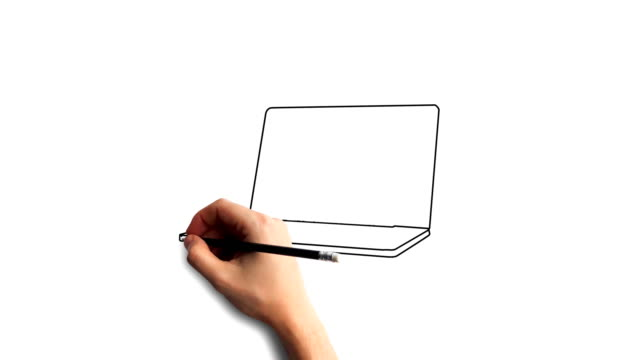 Whiteboard-Stop-Motion-Style-Animation-Hand-drawing-a-laptop