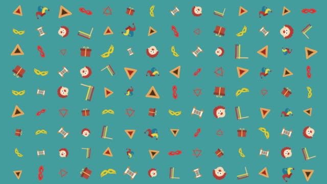 Purim-holiday-flat-design-animation-background-with-traditional-symbols