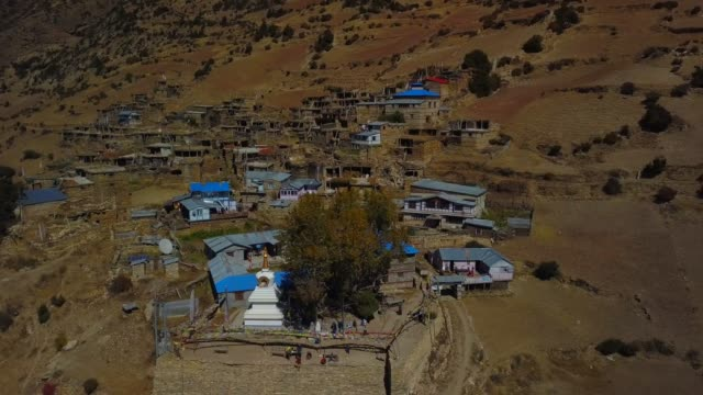 Stupa-in-Himalayas-range-Nepal-from-Air-view-from-drone