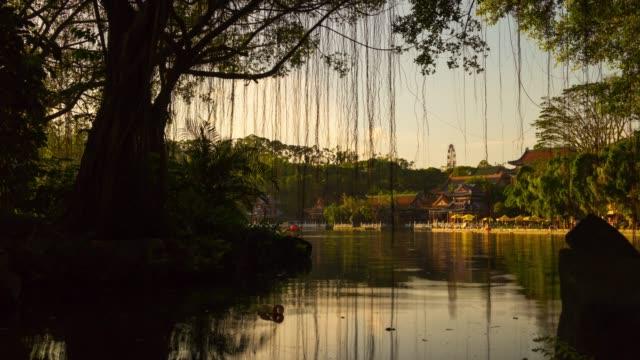 china-sunset-light-zhuhai-famous-new-nuanming-park-lake-panorama-4k-timelapse
