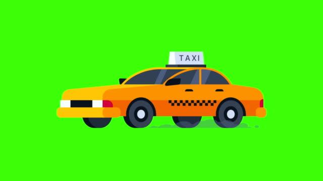 Gelbes-Taxi-fährt-Transparenten-Hintergrund-