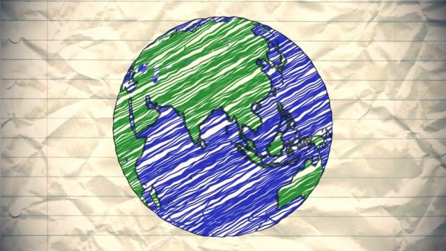 Earth-drawing-paper-cartoon-hand-drawn-animation-spinning-globe-world-pen-loop