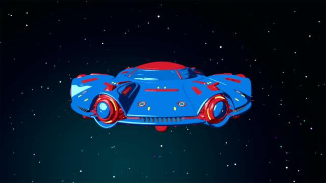 Dibujos-animados-OVNI-volando-en-el-espacio