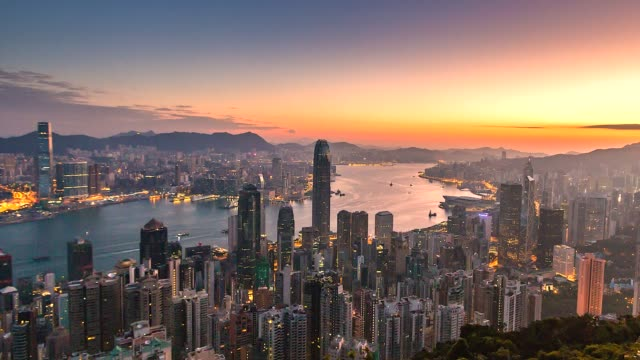 4K-Time-lapse-Hong-Kong-cityscape-at-the-morning-sunrise-time-at-victoria-harbor