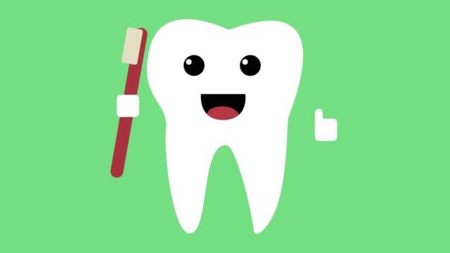 Dibujos-animados-icono-de-diente-feliz-fondo-de-lazo-verde-de-concepto-de-dientes-sanos-de-baile
