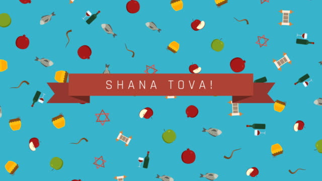 Rosh-Hashanah-holiday-flat-design-animation-background-with-traditional-symbols-and-english-text