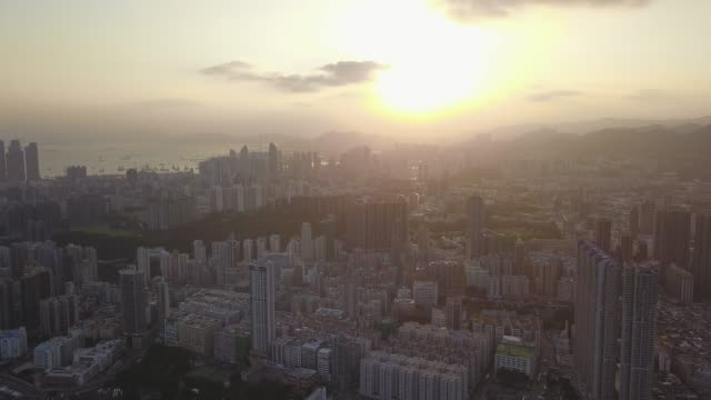 Aerial-view-footage-of-Kowloon-District-in-Hong-Kong