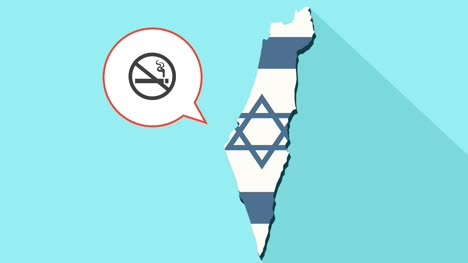 Animation-of-a-long-shadow-Israel-map-with-its-flag-and-a-comic-balloon-with-a-no-smoking-sign