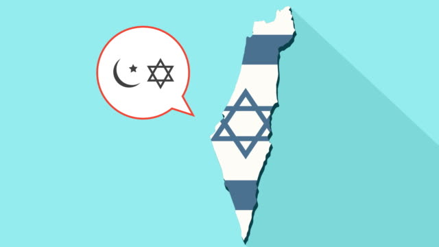 Animation-of-a-long-shadow-Israel-map-with-its-flag-and-a-comic-balloon-with-islam-and-judaism-religions-symbols