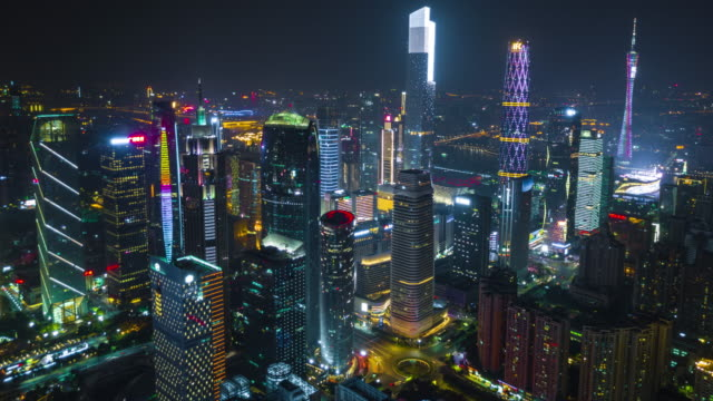 china-night-time-illuminated-guangzhou-city-downtown-famous-buildings-aerial-panorama-4k-timelapse