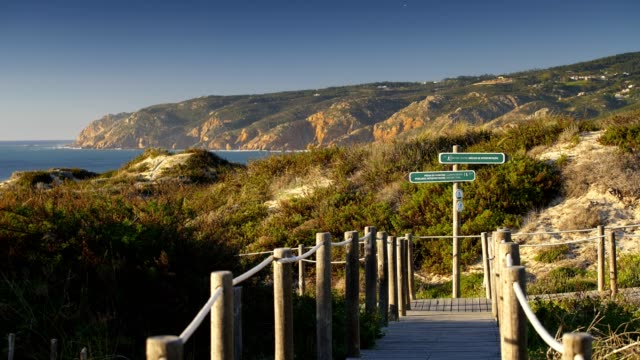 Praia-do-Guincho-Beach-pathway-with-indications-to-the-beach-coastline-and-sand-dunes