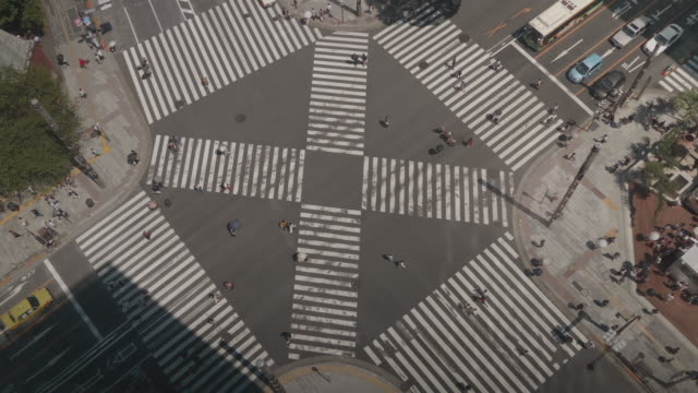 TimeLapse---Landscape-of-scrambled-intersection-in-Tokyo-Sekiyabashi-in-Japan