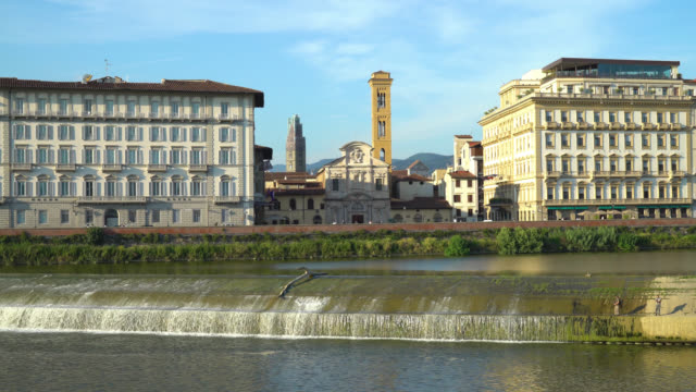 Florence-Tuscany-Italy-Walk-along-the-Arno-river-and-view-of-Chiesa-Di-SS-Salvatore-in-Ognissanti