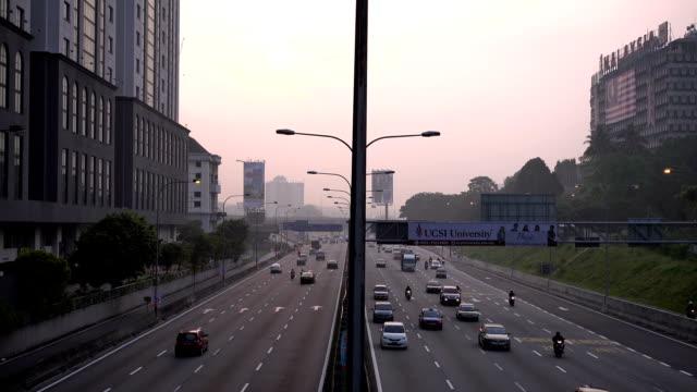 Kuala-Lumpur-Malaysia---September-19-2015:-4k-footage-of-road-at-Kuala-Lumpur-at-morning-sunrise-