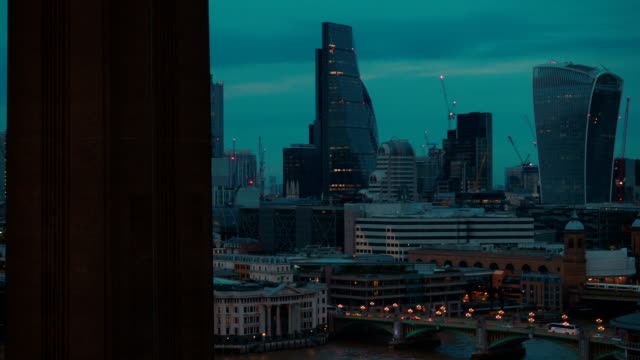 Panning-across-the-financial-City-of-London-and-St-Pauls-Cathedral-during-the-blue-hour